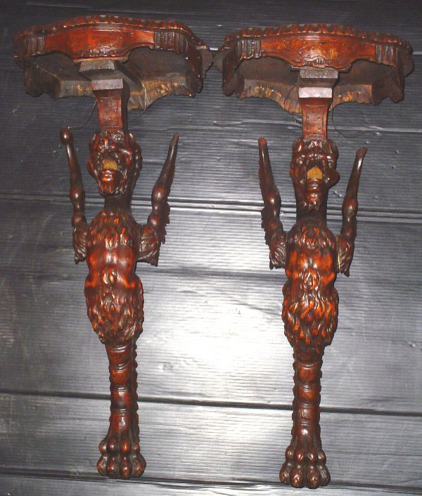 180: PAIR OF WINGED WOOD GRIFFIN WALL SHELVES 15692