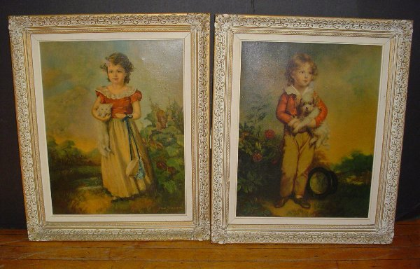 185: PR PICTURES ON CANVAS BOY W/ DOG GIRL W/ CAT 3029