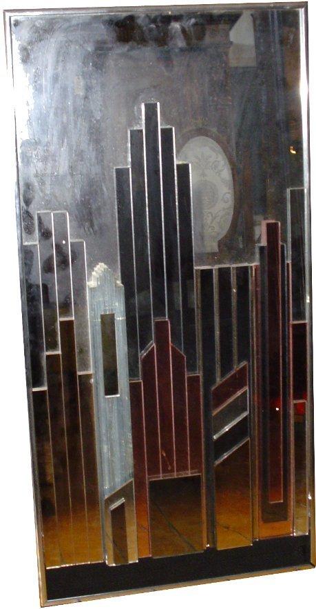 186:RETRO ART DECO MIRROR ART OF SKYSCRAPERS 3025