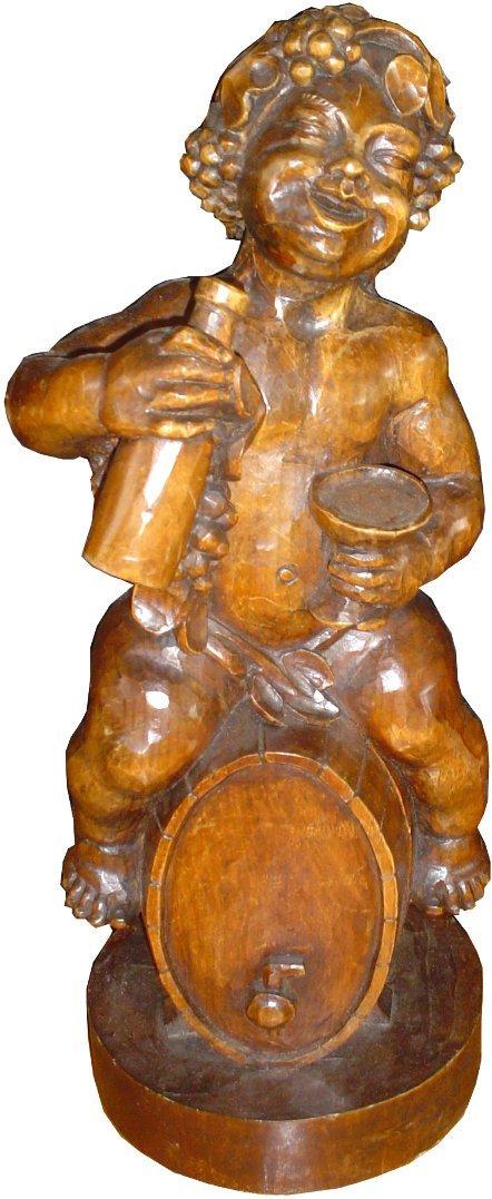 190:CVD WOOD BOY SITTING ON A WINE BARREL STATUE 15778