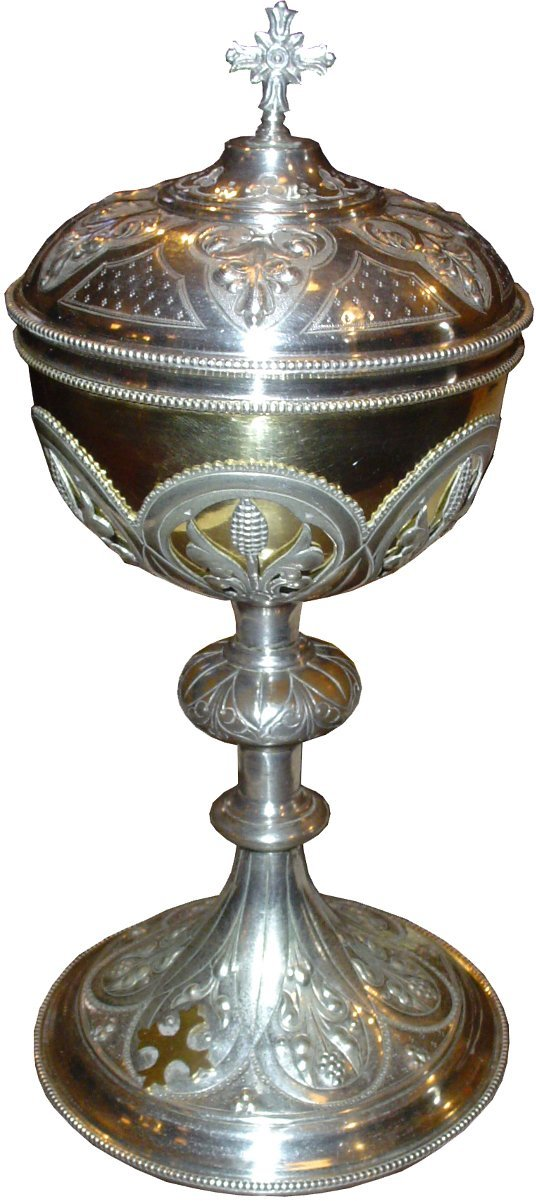 191:ANTIQUE SILVER & GOLD WASH CHALICE W/  CROSS 13066A