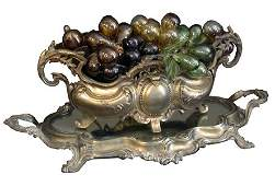 264:TABLE LAMP W/ MURANO GLASS GRAPES & TRAY 2887