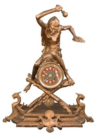 267: SPELTER CLOCK WITH DEVIL & WINGED GRIFFINS 15685