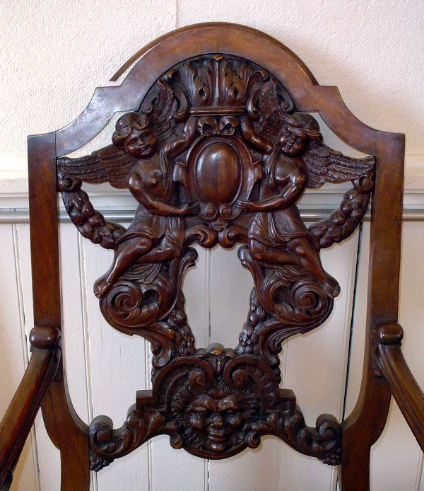 310: ANTIQUE CARVED WALNUT CHAIR W/ LION HEAD ARMS 1167 - 3