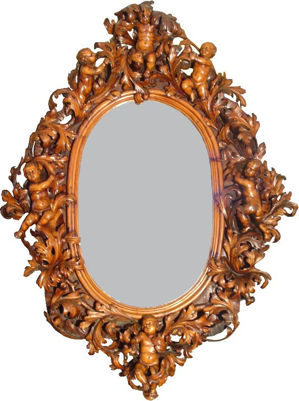 464: XLG CARVED BESAREL MIRROR 6 CUPIDS 8.5X6.5 FT 1592