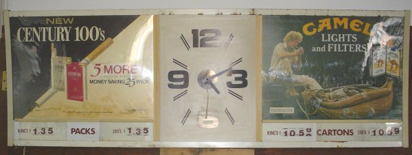 1: ADVERTISEMENT CLOCK W/ CAMEL CIGARETTES 1712