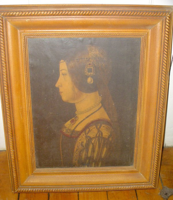 10: PRINT OF LADY PROFILE IN WOOD FRAME 1768