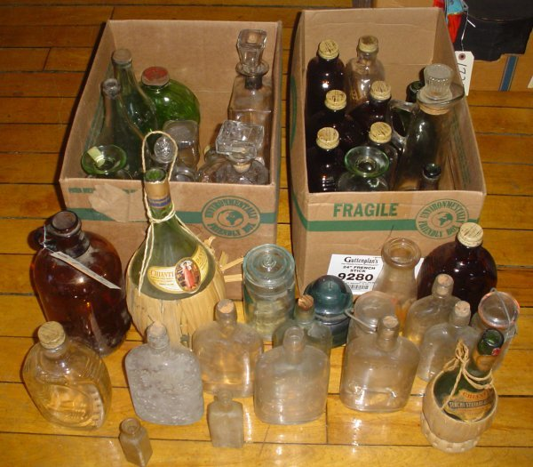 21: 2 BOXES OF GLASS BOTTLES