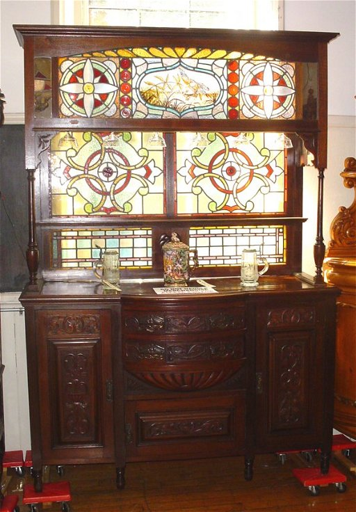 490 Antique Home Bar Cabinet With Stained Glass Nov 08 2008
