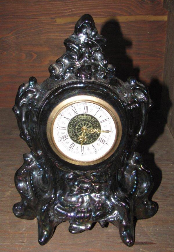 2: IRIDESCENT GLASS MANTLE CLOCK 1051
