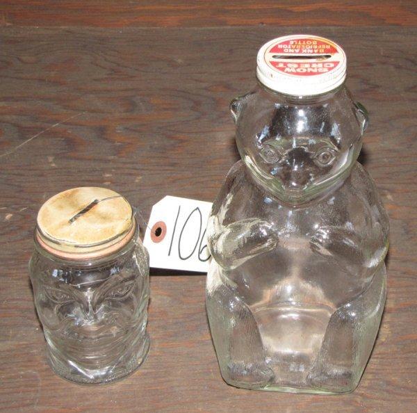 10: 2 GLASS FIGURAL BANKS 1063