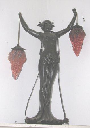 17: LADY LAMP W/GRAPE SHADES HAS BROKEN FINGERS