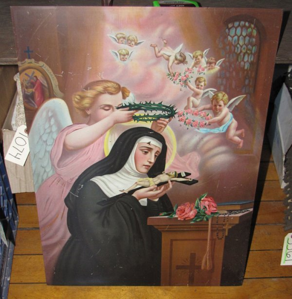 22: RELIGIOUS LITHOGRAPH OF NUN W/ANGELS 1070