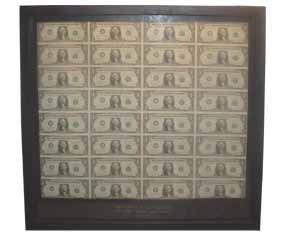 221: FRAMED SINGLE UNCUT SHEET OF 32 1981 $1 BILLS 3324