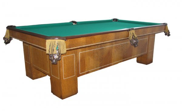 286: ANTIQUE OAK 8FT CHESTERMAN POOL TABLE W/INLAY 1552