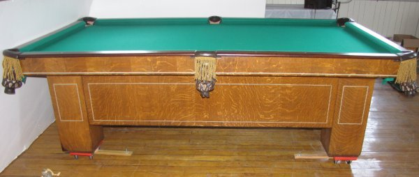 286: ANTIQUE OAK 8FT CHESTERMAN POOL TABLE W/INLAY 1552 - 2