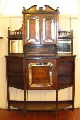 AMERICAN ROSEWOOD INLAID ETAGERE W/ PEDIMENT 3335