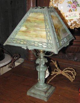 SLAG GLASS LAMP W/GREEN PATINA 3403
