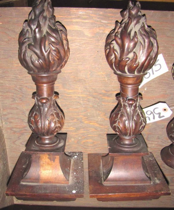 229: SET OF TWO LG CARVED WALNUT FLAME TOP FINIALS 3645