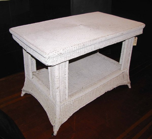 236: GREAT SOLID 100 + YRS OLD WHITE WICKER TABLE 1627