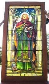 409: SGD TIFFANY STUDIOS LADY STAINED GLASS WINDOW 1585