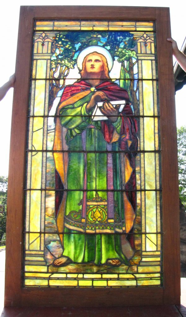 409: SGD TIFFANY STUDIOS LADY STAINED GLASS WINDOW 1585