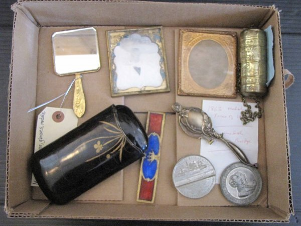 17: 9PC MISC.; MIRROR, GLASSES, MEDALS, TRINKETS 1606