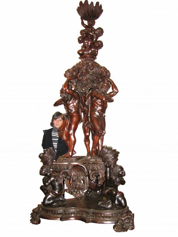 450: AMAZING HUGE CVD WOOD SCULPTURE -ATLAS CUPIDS 1511