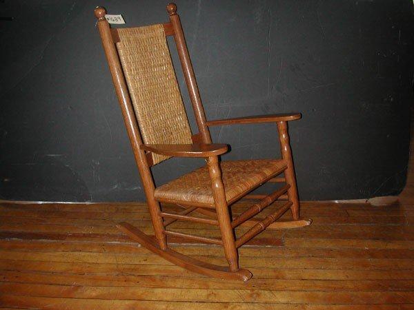 7 Cracker Barrel Oak Wicker Rocking Chair 1689
