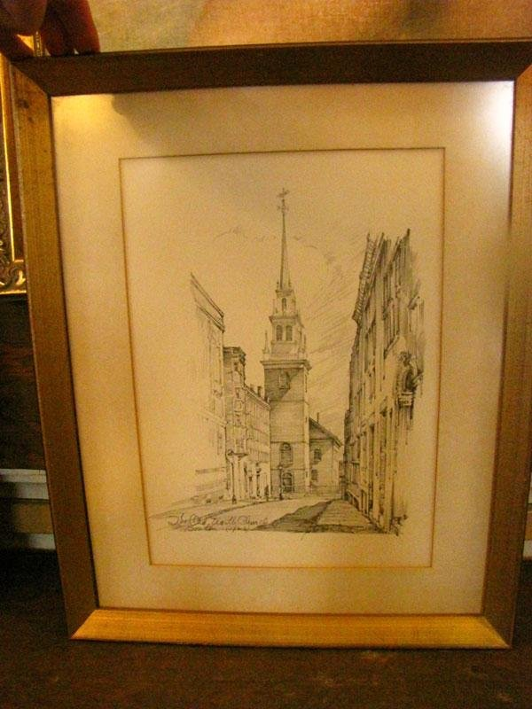 16: FRAMED PRINT OF THE OLD NORTH CHURCH BOSTON SGD1541