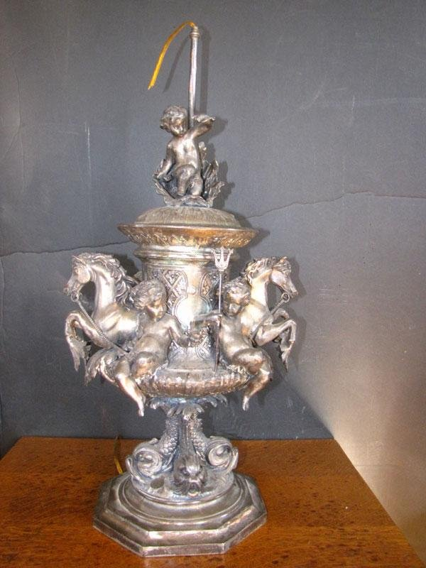 239: ORNATE FRENCH SILVER PLATED TBL LAMP (1627)