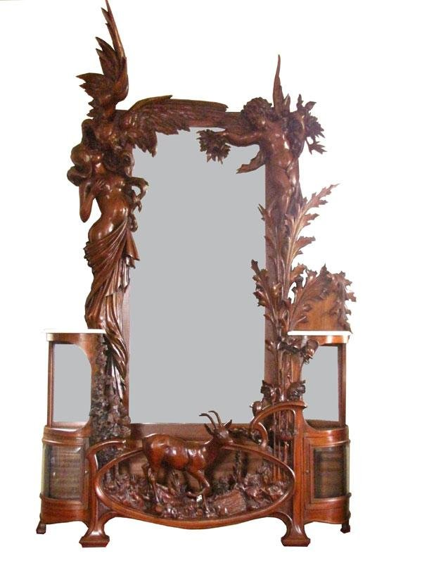 593: COLOSSAL PIER MIRROR W/WOMAN, ANGELS, CHERUBS 3985