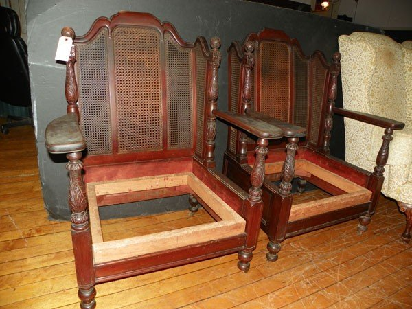 11: PAIR OF WICKER CHAIRS NEED SEAT CUSHIONS 1501
