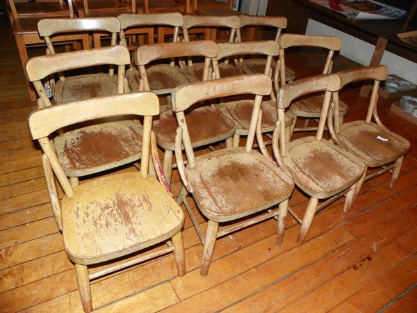 12: 12 OAK SMALL CHILD CHAIRS W/BENT WOOD SUPPORTS 1509