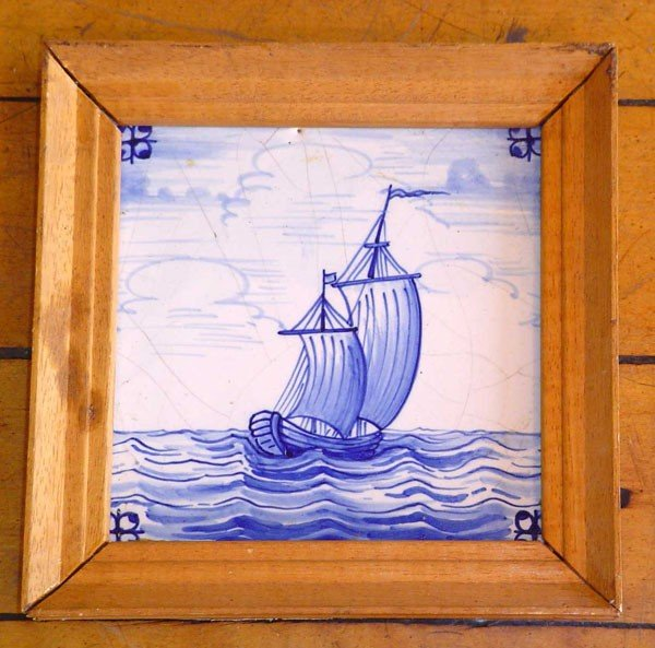 21: FRAMED BLUE DUTCH TILE OF SHIP 13861C