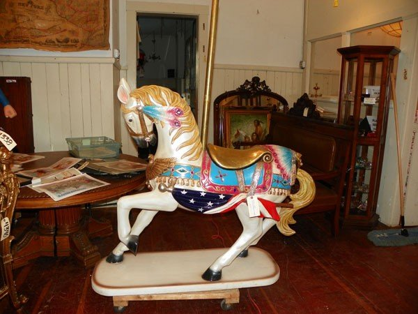 24: FULL SIZE CAROUSEL HORSE W/INDIAN ACCENT 4328