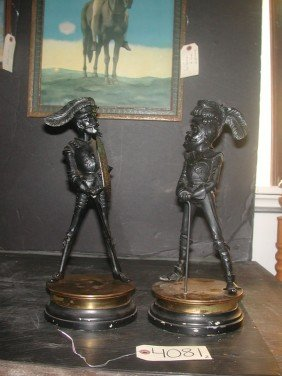 2 DETAILED SPELTER CANDLESTICKS OF MUSKETEERS 4081
