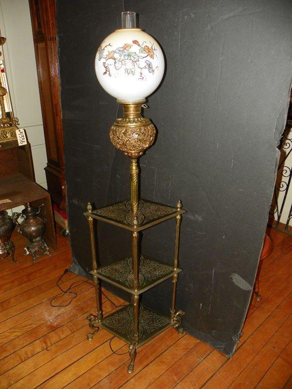 67: ORNATE SGD B&H PIERCED 3 TIER PIANO LAMP (4492)