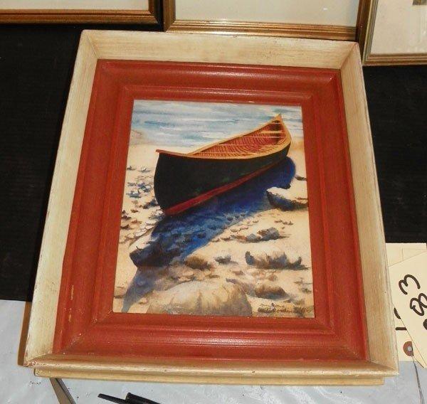 104: FRAMED WATERCOLOR OF CANOE (1881)