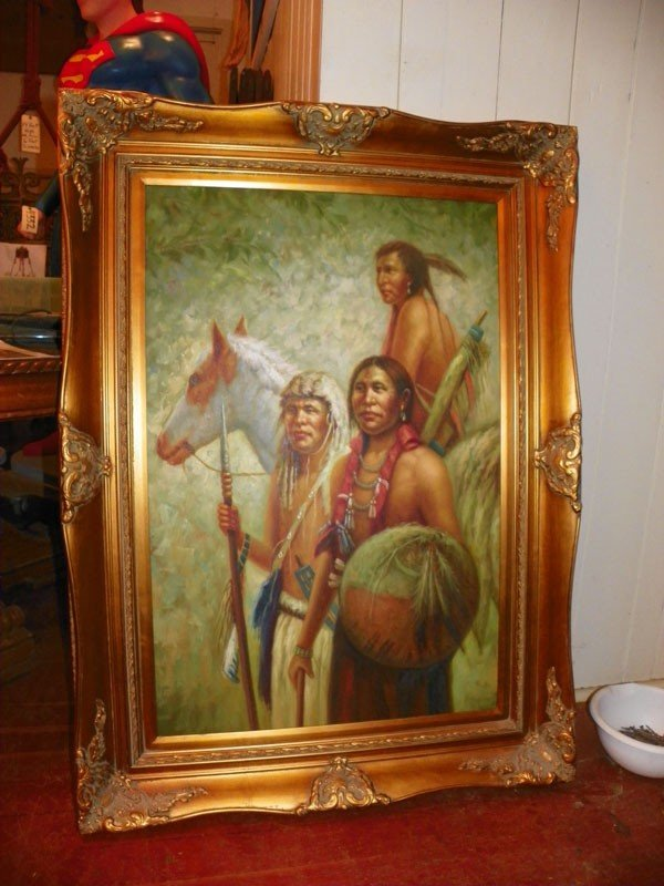 111: LG OIL ON CANVAS 3 INDIANS IN GILT WOOD FRAME 4352