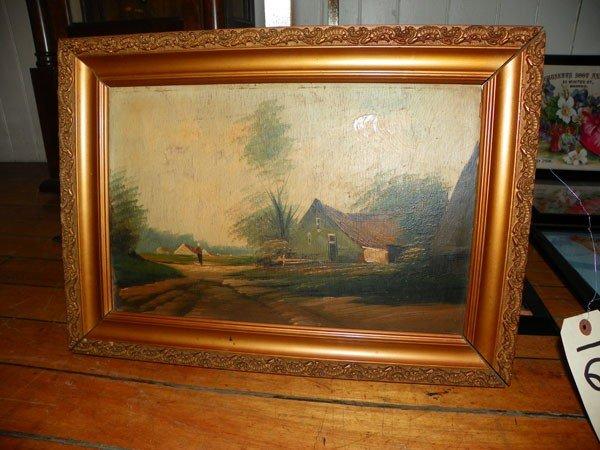 118: LANDSCAPE OIL ON BOARD OF FARM (1649)
