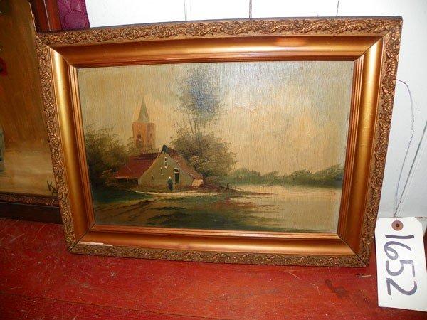 119: OIL ON BOARD OF LANDSCAPE W/ CHURCH & RIVER (1652)