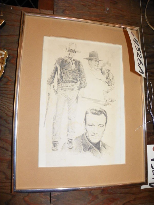 124: FRAMED PORTRAIT SKETCH OF JOHN WAYNE 4326A