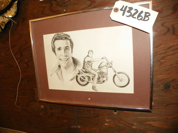 125: FRAMED PORTRAIT SKETCH OF FONZIE 4326B