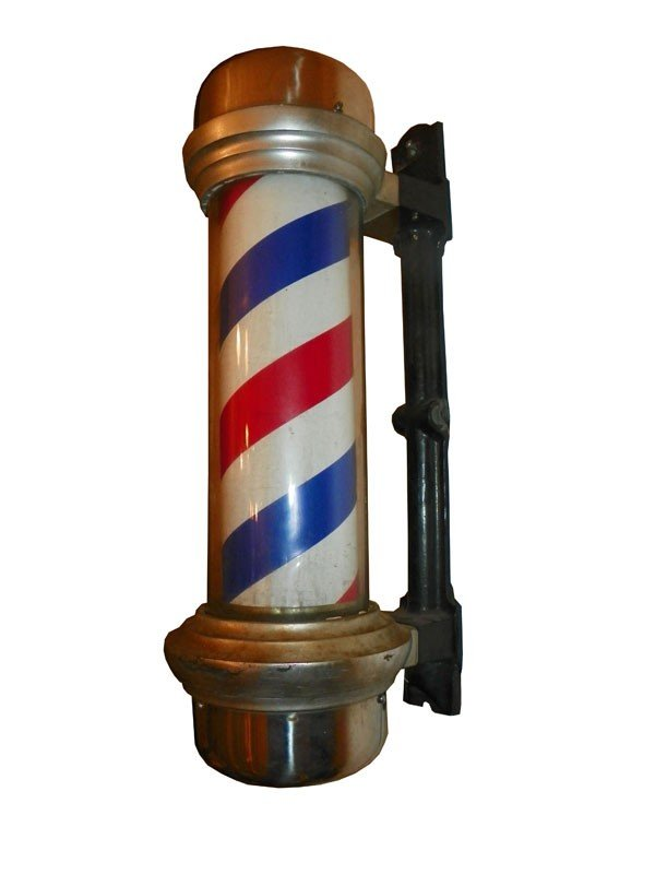 129: ORIGINAL WALL BARBER POLE LIGHT 4358