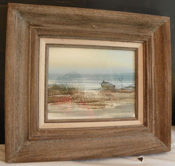 134: WATERCOLOR OF SEASCAPE, ARTIST SIGNED AMUNDY 4474