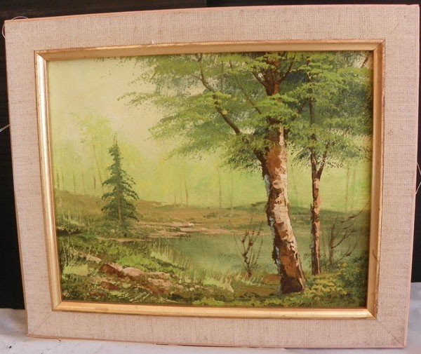 140: SMALL FRAMED OIL ON CANVAS TREE @ WATERS EDGE 4475