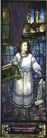 594: RARE SGD TIFFANY STUDIOS WINDOW OF BOY JESUS 1561