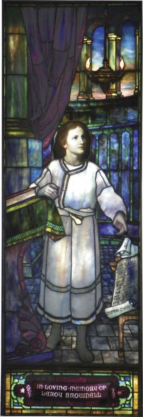 594: RARE SGD TIFFANY STUDIOS WINDOW OF BOY JESUS 1561