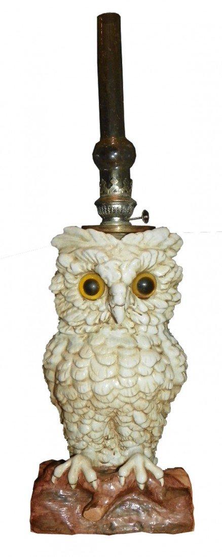 19: PORCELAIN OWL OIL LAMP 9904172